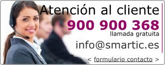 Contacto: 900900368, infoarrobasmarticpuntoes, formulario de contacto