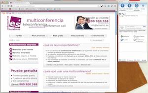 Pantallazo aplicación webconference. Pinchar para hacer más grande